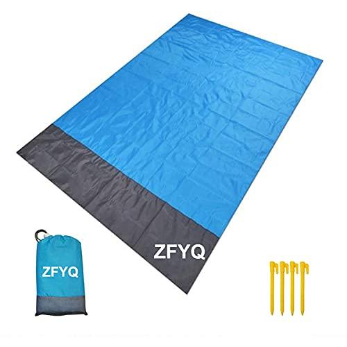 ZFYQ Alfombras de Playa, 140 x 200 cm Manta de Picnic con 4 Estaca Fijo para la Playa Acampar Picnic y Otra Actividad al Aire Libre