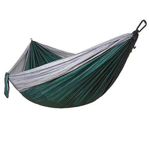 DaiHan Camping Hängematte Outdoor Personen Baum-schonenden Gurten Tragbare Hängematte aus Fallschirm-Nylon für Rucksack Grau Grün M