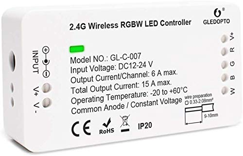 RGBW ZigBee Controller ZigBeeLED Strip Smart Controller DC12-24V LED Strip Zll App Controller RGB/RGBW Compatible with Hue Bridge Amazon Echo Plus and Zigbee3.0 …