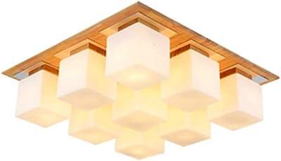 Lámpara de Techo de Madera Creativa Sala de Estar Pasillo Pasillo BaMWPOón Lámpara Escalera Luz Lámparas japonesas de Madera Maciza: Amazon.es: Hogar