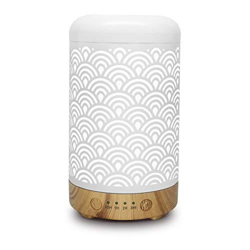 Difusor de aceite esencial de aromaterapia de metal, humidificador silencio de apagado automático sin agua LED cambiado de 7 colores para SPA de oficina en casa (Pequeño, 100 ml)