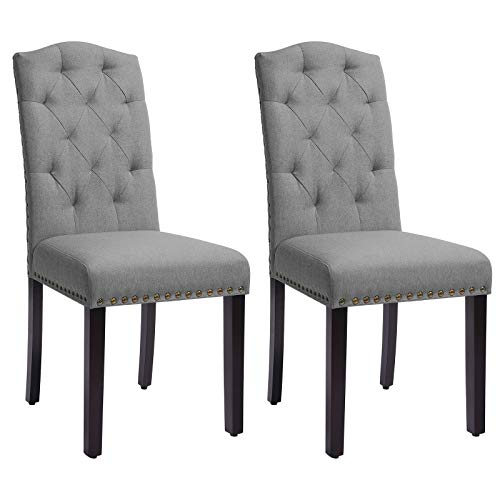 """SONGMICS Set of 2 Dining Chairs with High Back, Tufted Design, Solid Wood Legs, Upholstered Stools, 18.1""""L x 23.2""""W x 40.5""""H, Light Gray"""