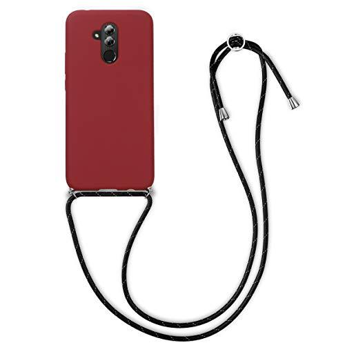 kwmobile Funda con Cuerda Compatible con Huawei Mate 20 Lite - Carcasa de Silicona con Colgante - en Rojo Oscuro/Negro