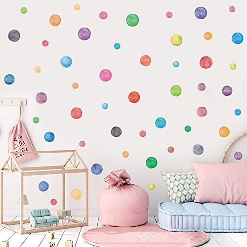 IARTTOP Colorful Dot Decal (51pcs), Watercolor Polka Dots Wall Sticker for Nursery Kids Bedroom Classroom Decor, Multicolor Circle Window Clings Decoration