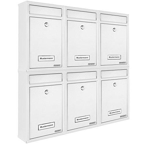 Deuba 6x Briefkasten Weiß inkl. 2 Schlüssel Namensschild abschließbar Mailbox Briefkastenanlage Postkasten Stahl
