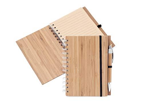 Design ÖKO Recycelte Bambus Notizbuch 14,5 x 18 cm, Holzstift, Spiralbindung mit gefütterten Recyclingpapierblättern, natürlicher umweltfreundlicher Notizblock