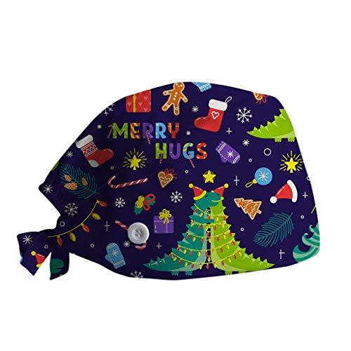 Navidad Gorro 𝗘𝗻𝗳𝗲𝗿𝗺𝗲𝗿𝗶́𝗮 con Botones Sombrero de Lactancia Gorra de Trabajo Mujeres Impresión de Dibujos Animados de Navideña Work Cap Beanie Gorros de Pelo Mantener el Cabello Limpio (E)