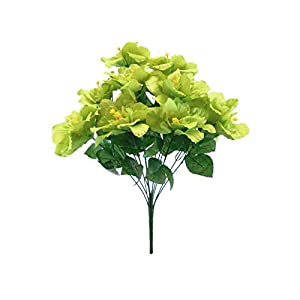 20″ Bouquet Green Hibiscus Bush 12 Artificial Silk Flowers LivePlant
