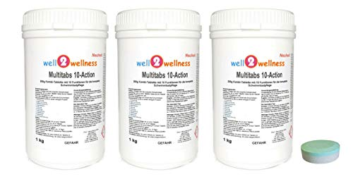 well2wellness Chlortabletten Multitabs 10-Action 200g mit 10 Funktionen 3,0 kg (3 x 1,0 kg)