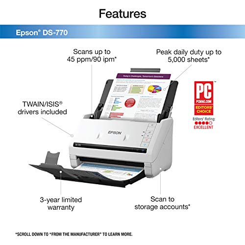 Epson DS-770 Document Scanner: 45 ppm, Twain & ISIS Drivers, 3-Year Warranty with Next Business Day Replacement Photo #2