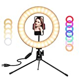 SICCOO Ring Light, Video Conference Lighting Kit,10 inch LED Dimmable RGB Selfie Ring Light on Desktop Colorful Makeup Light with USB for Makeup, Live Stream/YouTube Video/Vlogging/Selfie/Photography