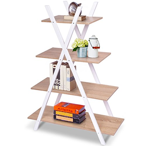 COSTWAY Leiterregal 4-stufig, Bücherregal aus Holz, Standregal, Treppenregal, Eckregal, Pflanzenregal, Holzregal, Stufenregal, Wandregal, Dekoregal, Blumenregal