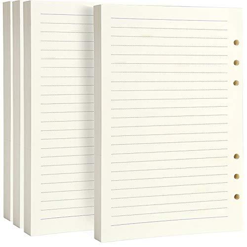 FANDAMEI A5-Nachfüllpapier, 360 Seiten/180 Blatt, 6-fach Lochung, für Filofax, Clipbook nachfüllbares Notizbuch, Planer, liniert, Papier für Organizer, Nachfüllen in Büro, Schule, 4 Packungen
