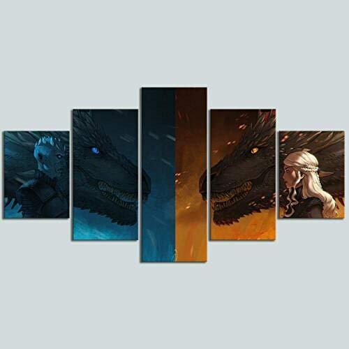IILSZMT HD Art Cuadro De Pared 5 Partes Impresión Decoración Canvas Juego De Tronos Dragon Daenerys Night King Moderno Salón Decoración para Hogar