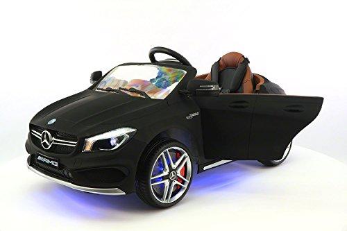 Moderno Kids Mercedes CLA45 Children Ride-On Car with R/C Parental Remote 12V Battery Power LED Wheels Lights + 5 Point Seat Belt + MP3 Music Player + Baby Tray Table + Rubber Floor Mats (Matt Black)