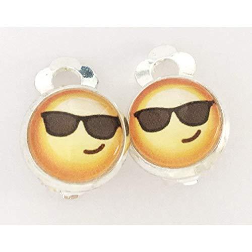 Kinder Ohrclips oder Stecker Emoji 10mm Motiv Mädchen Cabochon Ohrringe handgefertigt by Schmuckphantasien in silber auch als Ohrstecker handmade clips smiley Sonnenbrille gelb schwarz