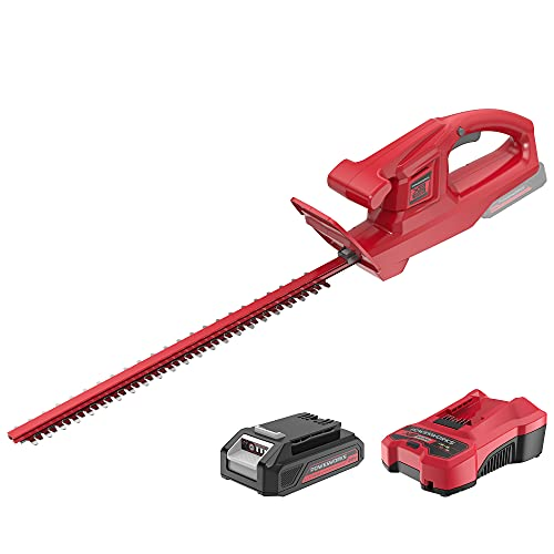 POWERWORKS 20V 20 Inch Cordless Hedge Trimmer Electric Grass Trimmer, Dual Action Blade & 5/8' Cutting Capacity, XB 2Ah Battery and Charger Included ,for Bush Lawn and Garden