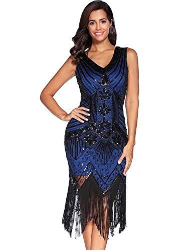 Frauen Retro V-Ausschnitt der 1920er Jahre Abendkleid Pailletten inspiriert Perlen Flapper Abend Prom Party Kleider mit Quaste (Royal Blue,L)