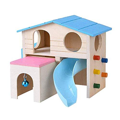 POPETPOP Kletterhaus für kleine Haustiere, Holz, Rutsche, Spielhütte für Hamster, Chinchilla, Meerschweinchen, Ratte, Blau