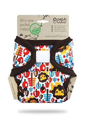 Petit Lulu Pañal de bolsillo todo en uno | AIO | Hook&Loop | Orgánico esponjoso | Reutilizable y lavable | Fabricado en Europa (King of the Jungle)