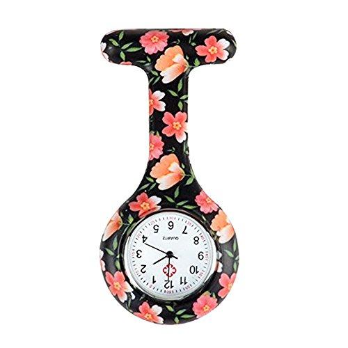 Naisicatar Krankenschwestern Armbanduhr Unisex Doktor, Krankenschwester Uhr Brosche Taschenuhr mit Clip für Freundin schwarz