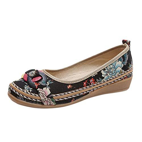 Minetom Damen Vintage Ethnische Bestickte Schuhe Tanzschuhe Niedrigem Keil Ballerina Mary Jane Blumen Leinen Flache Halbschuhe Espadrilles A Schwarz 35 EU