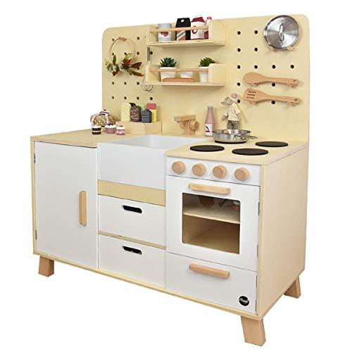 Meppi Kinderküche Kopenhagen, Natur-Weiss - Spielküche aus Holz für Kinder - Küche