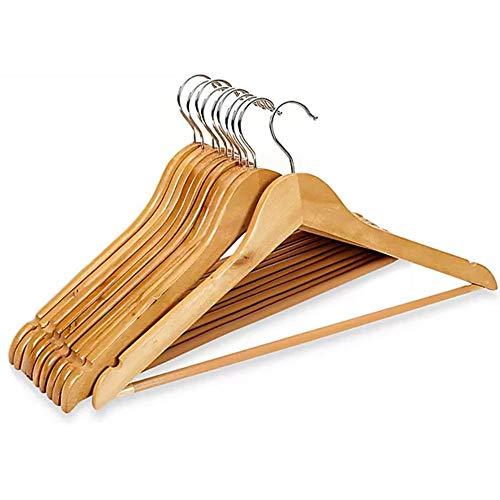 Set di grucce in legno, 10 pezzi, grucce per vestiti come pantaloni, gonne, cappotti o camicie. Grucce antiscivolo con 360 gradi di rotazione, grucce in legno