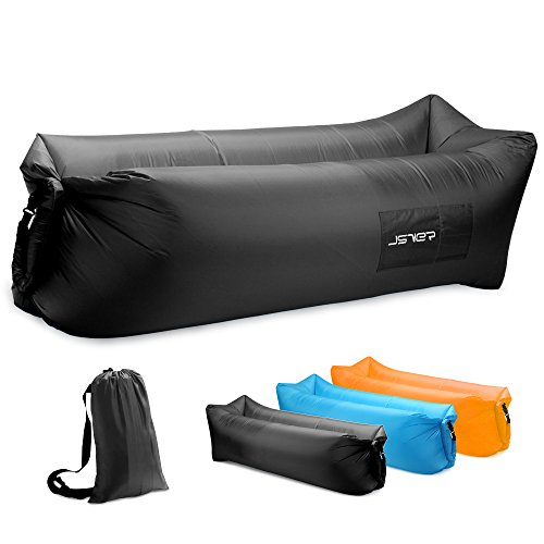 JSVER Inflatable Lounger Air Sofa with Portable Package for Travelling, Camping, Hiking, Pool and Beach Parties, Black