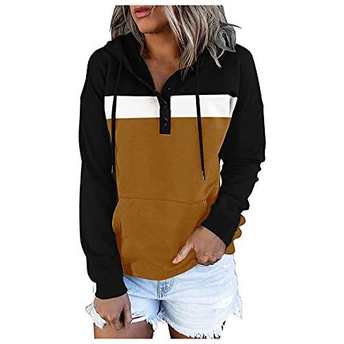 Berimaterry sudaderas para mujer moda top manga larga casual chándal mujer holgado con botones Jerséis Delgada camisetas de mujer hoodies con Cordón jersey sudaderas con capucha de Ocio