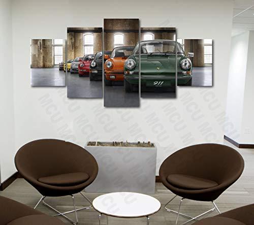 5 Piece Luxury Canvas Posters of Sports Cars Supercar Exotic Luxury Modern Wall Art Decor (5 Piece Medium, Porsche Car 911)