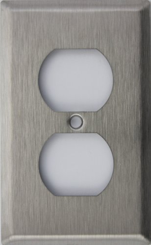 Brushed Satin Stainless Steel 1 Single Gang Wall Plate - 1 Duplex Outlet