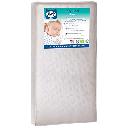"""Sealy Baby Cozy Cool Hybrid 2-Stage Waterproof Standard Toddler and Baby Crib Mattress - Soybean Cool Gel Memory Foam & Premium Coils, 51.7"""" x 27.3"""""""