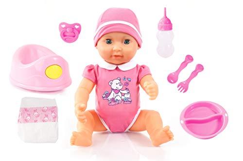 Bayer Design 94071AX Piccolina Newborn baby 40 cm, slaapogen, met veel accessoires (flesje, fopspeen met bestek, potje en een luier), roze romper