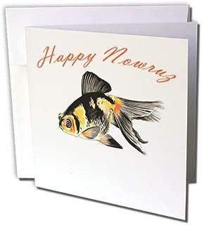3dRose Greeting Card Happy Nowruz Demekin Goldfish Persian New Year, 6 x 6