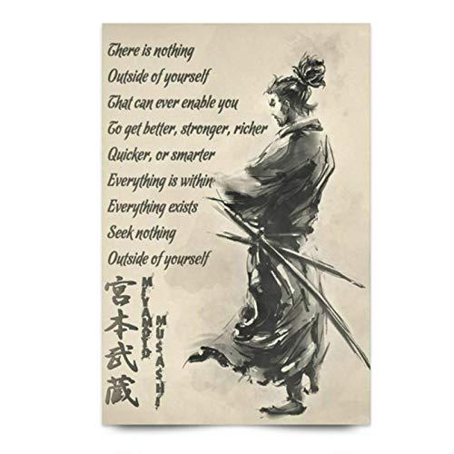DrCor Japanese Samurai Motivational Wall Art Poster Quote Miyamoto Musashi Art Print Canvas Painting Wall Art Home Decor -20x28 Inch No Frame 1Pcs