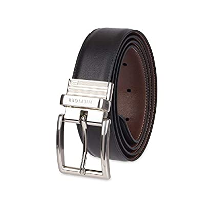 Tommy Hilfiger Reversible Leather Belt - Casual for Mens Jeans with Double Sided Strap and Silver Buckle , Black/Brown, 36