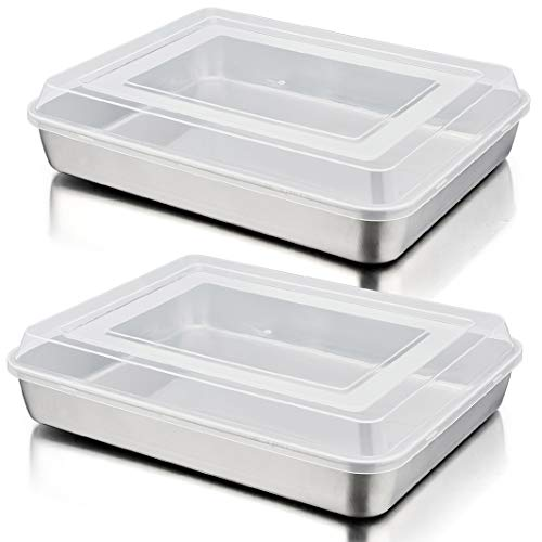Baking Sheet Lasagna Pan with Lid Set of 4, P&P CHEF Rectangular Cake Pan Stainless Steel and Airtight Plastic Lids, Ideal for Cooking Reheating Roasting Baking Storing, Heavy Duty - 12.5 Inch