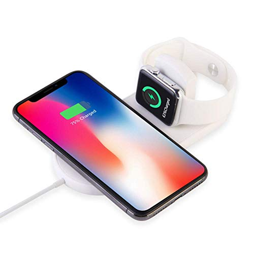 ATETION Caricabatterie Wireless per Apple Watch, Supporto per Caricabatterie 2 in 1 Compatibile con per iPhone XS/XS Max/XR/X / 8 / Plus/Series 4/3/2/1