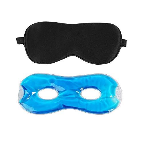 BelleStyle Schlafmaske für Frauen und Männer, Seide Augenmaske Nachtmaske, Kühle/Warme Therapie Gel Schlafmaske mit Einstellbare Gummiband Augenabdeckung Schlafbrille für Reisen, Nickerchen