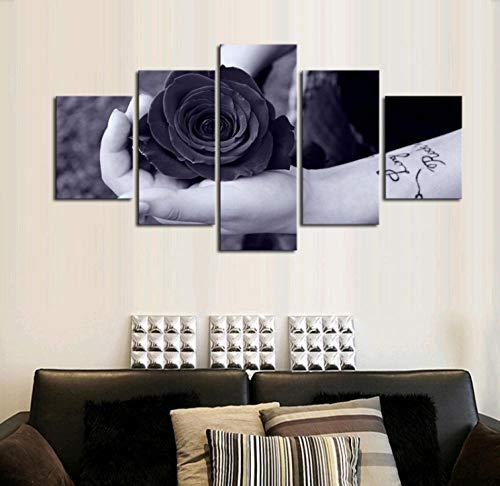 5 Teilig Leinwand Wandbild 150X80Cm Wandkunst Bild auf Leinwand 5 Leinwände Komponieren Ein Gemälde Innendekoration Wandbild und Poster mit Rahmen - Graues Rosenstillleben