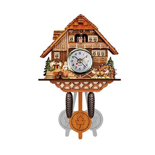 Canghai Kuckucksuhr Antike Holz Kuckucksuhr Wanduhr Vogel Zeit Glocke Batteriebetrieben Quarzwerk für Zuhause Kunst Büro Hotel Dekor (Stil 11)