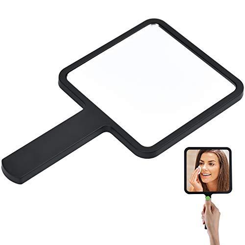 cococity Mirroir à Main Portable Miroir de Maquillage Carré pour Salon de Coiffure, Maison Noir - 9 x 16cm