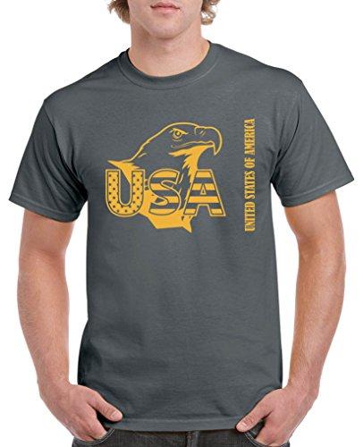Comedy Shirts - USA Adler - Herren T-Shirt - Dunkelgrau/Gelb Gr. XXL