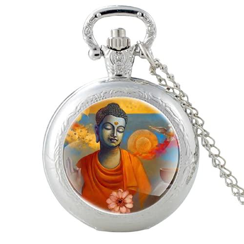 Clásico Buda pintura Ananda diseño plata vintage cuarzo reloj de bolsillo hombres mujeres colgante collar horas reloj regalos