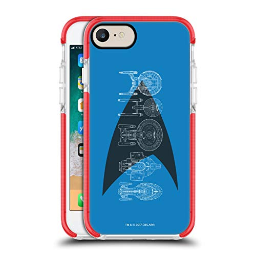 Head Case Designs Officially Licensed Star Trek Delta Complete Ships Of The Line Red Shockproof Gel Bumper Case Compatible With Apple iPhone 7 / iPhone 8 / iPhone SE 2020