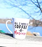 Dozili Mug humoristique pour amoureux de café Inscription All I need is Coffee and Mascara Mug Mug...