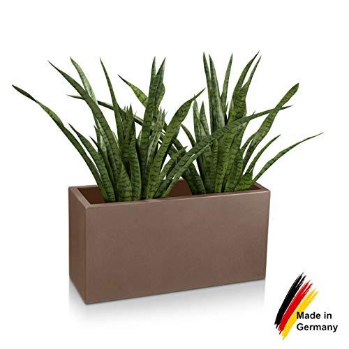 Pflanzkübel DECORAS Pflanztrog VISIO 40 Kunststoff – cappuccino matt – frostsicher & UV-beständig (8 Jahre Garantie) – geeignet für Innen- & Außenbereiche – Premium Blumenkübel