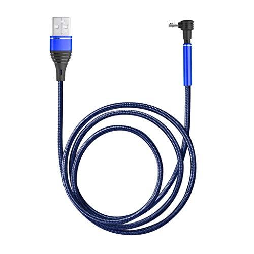 Bascar Cable de carga USB C V8 Micro USB Android, cable de carga de nailon en ángulo recto de 90 grados, carga rápida de nailon, cable de carga micro USB (azul)