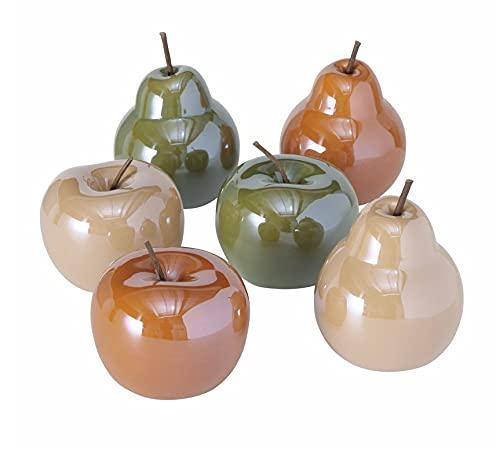 6er Set Deko Apfel Birne Dekoapfel Obst Früchte Äpfel Birnen nr2721 Dekoobjekt Keramik 10cm Stillleben Herbstdeko grün orange Creme
